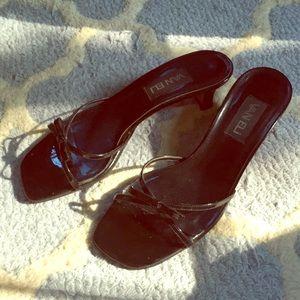 Black patent leather Vaneli strappy heels